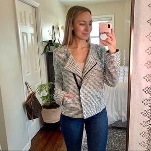 LOFT Stylish Collarless Tweed Zipper Blazer Jacket